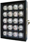 20 Baseball or Cube Display Case Cabinet, with 98% UV protection. with Lock and Keys