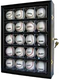 20 Baseball Display Case Cabinet, with 98% UV protection. with Lock and Keys (Black Finish)