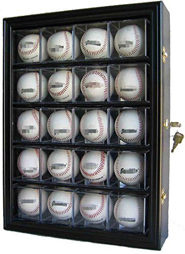 Solid Wood 20 Baseball or Cube Display Case Cabinet, with 98% UV protection. with Lock and Keys (Black (Cube Lock)