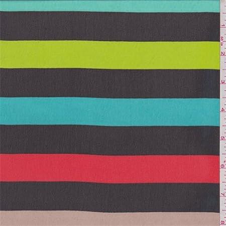 Black Deco Stripe Polyester Chiffon Fabric By The Yard