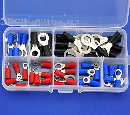 Electronics-Salon 9 Types Ring Crimp Wire Terminal Assortment Kit, Connector, Vinyl-Insulated. Red 19A, Blue 27A, Black 37A, For US Screw: #4 #6 #8 #10 1/4 5/16 3/8.