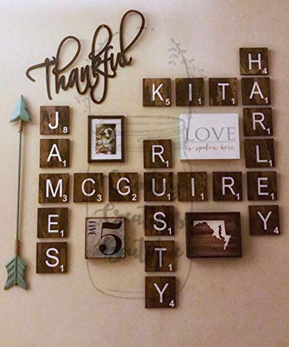 Large Scrabble 5 x 5 Tiles, Wooden Wall Ready to Hang Tiles, Wall Decor, Farmhouse Style, Scrabble Pieces, Personalized Sign, Wooden Letters (Scrabble Tiles Large)