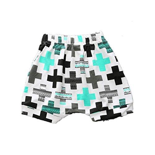 - WINZIK Newborn Infant Baby Kids Outfits Fashion Pattern Summer Casual Cotton Shorts Harem Pants Beachwear (12-18 Months, Cross)