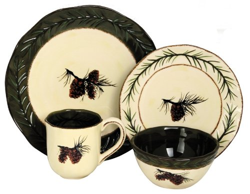 Pinecone Lodge Green 16-Piece Dinnerware Set Service for 4