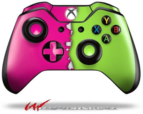 Ripped Colors Hot Pink Neon Green - Decal Style Skin fits Microsoft XBOX One Wireless Controller (CONTROLLER NOT INCLUDED)