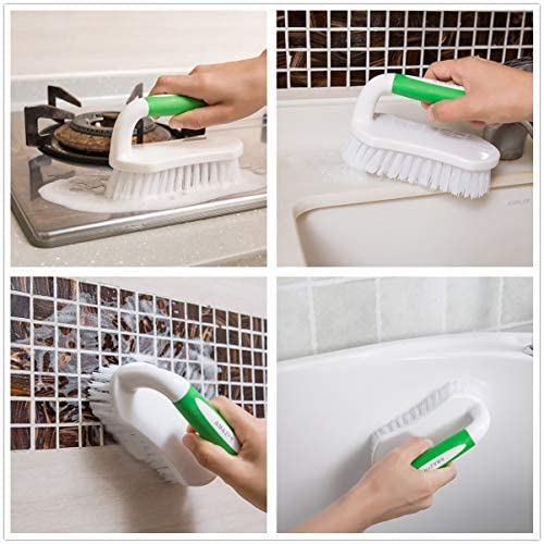 Amazer Scrub Brush Comfort Grip & Flexible Stiff Bristles Heavy Duty for Bathroom Shower Sink Carpet Floor - Pack of two (Green+Green)