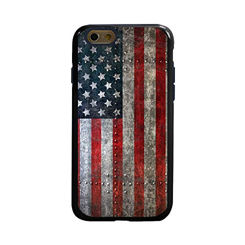 Dog Protector Case - Guard Dog American Might Rugged American Flag Hybrid Phone Case for iPhone 6 / 6s with Guard Glass Screen Protector, Black with Dark Blue Silicone