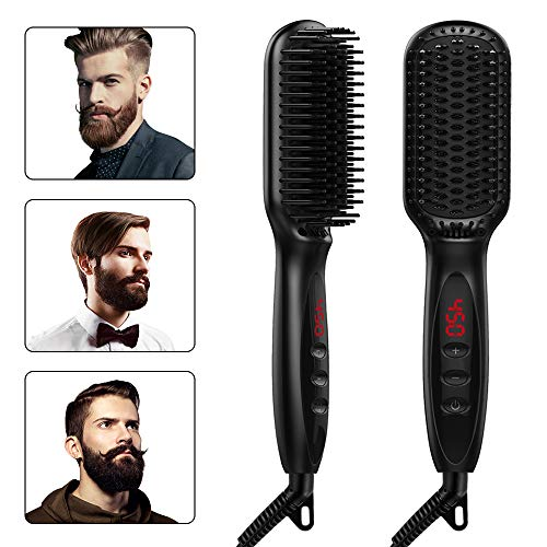 Beard Straightener,Hair straightener for Women and Men, 2019 Adjustable Temperatures Anti-Scald Beard Straightening Brush with LCD Display-Beard Comb for Home and Travel