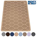 """MIGHTY MONKEY Premium Cat Litter Trapping Mats, Phthalate Free, Best Scatter Control, Jumbo XL Sizes (35"""" x 23""""), Mat Traps Litter, Easy to Clean, Soft on Kitty Paws (Taupe)"""