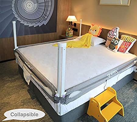 Gray, Queen Queen Size Bed Goldenvalueable Bed Rail Guard 3 Set Vertical Collapsible for Baby Toddlers and Kids