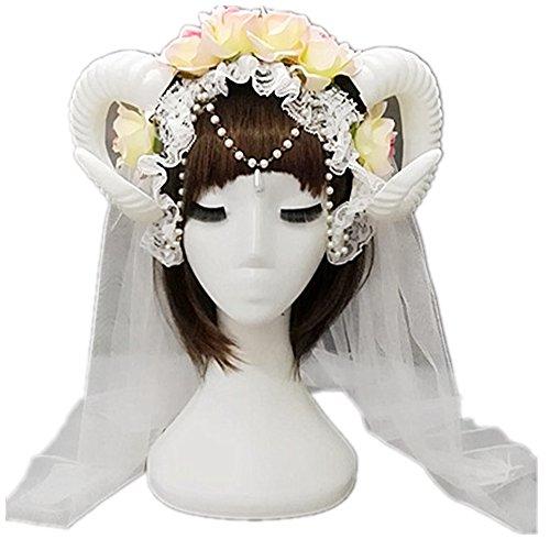 (Kangsanli Handmade Lolita Fancy Dress Sheep Horns Headband with Rose Flowers Lace Veil Halloween Headwear Costume Punk (with Veil and Chain))