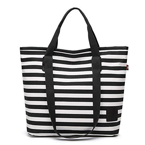 Sacs VogueZone009 Top Main Noir Client Femme Tissu Zippers Voyage à Handle en n8xwgA8qrC