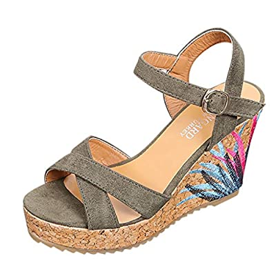 Lurryly Summer Women's Shoes Fashion Belt Buckle Sandals Wedges Roman Ladies Sandals