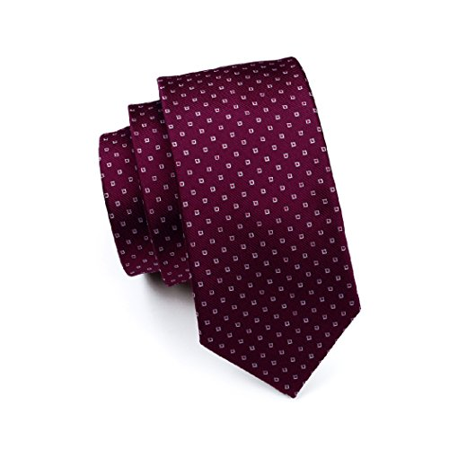 Set CAOFENVOO 0875 Men's Necktie Silk Men's Cufflinks Hanky N Red Tie YwYq4vrf