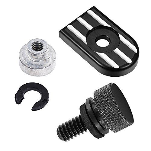 ClipsOne Black Billet Aluminum CNC Seat Quick Mount Bolt Screw Cap Nut Kit For Harley Davidson Dyna Softail 1996-2016 Motorcycle with 1/4