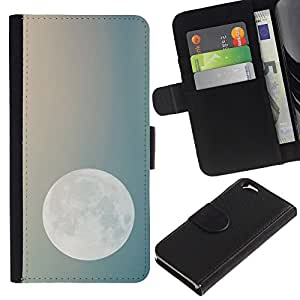 A-type (Moon Night Sky Teal Blue Planets Earth) Colorida Impresión Funda Cuero Monedero Caja Bolsa Cubierta Caja Piel Card Slots Para Apple Apple (4.7 inches!!!) iPhone 6 / 6S
