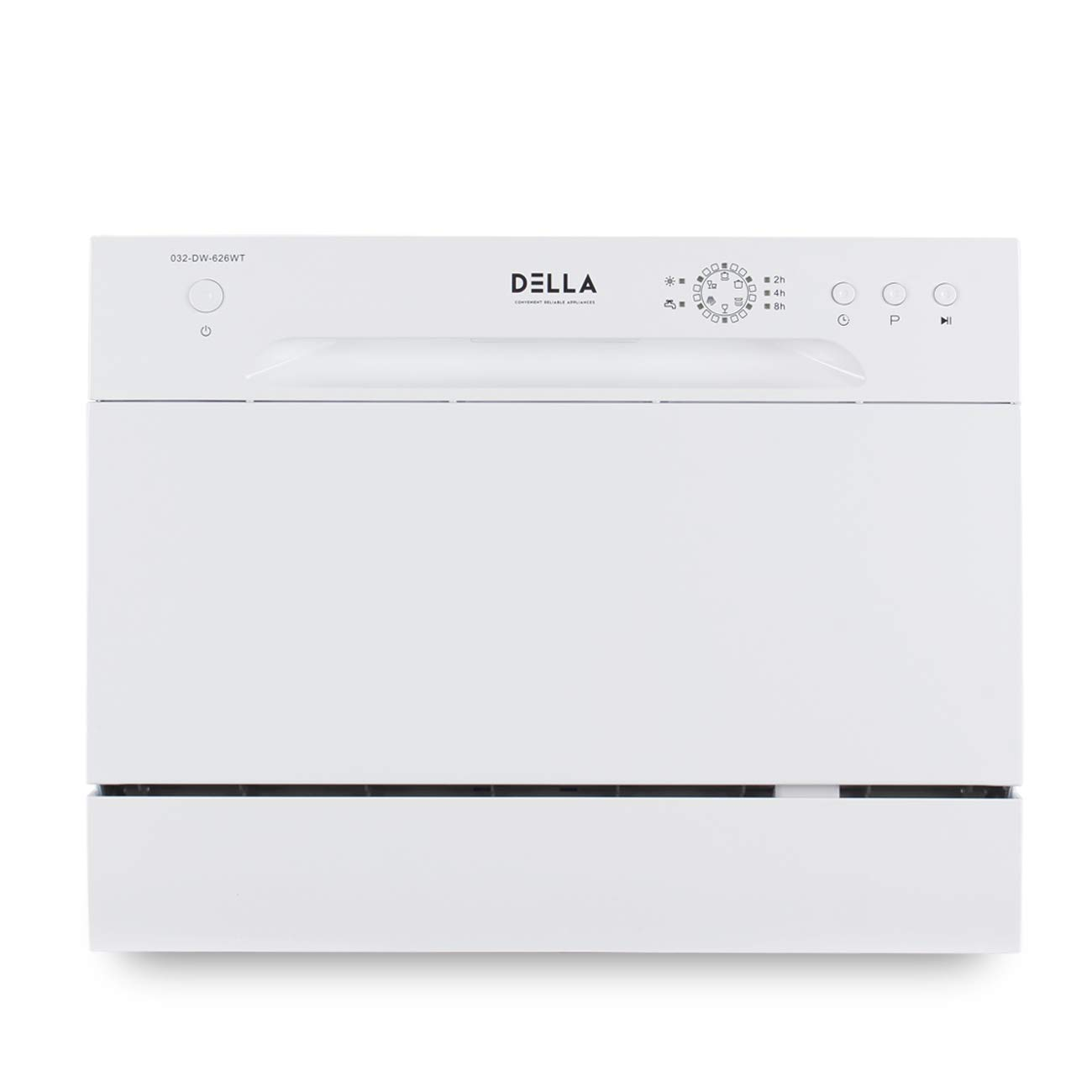 DELLA Mini Compact Countertop Dishwasher 6 Place Settings Portable For Small Apartment Home Kitchen, White