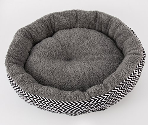 "IPETJOY Self Warming Canvas &Plush Pet Round Bed For Cats & Dogs – Premium Organic Cotton With Plush Sherpa Lining | 18"" x 18"" x 5"
