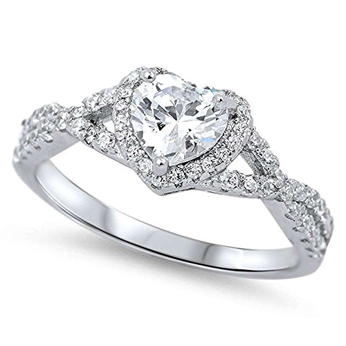 Oxford Diamond Co Sterling Silver Heart Halo Simulated Gemstone Promise Ring Available (8, Clear...