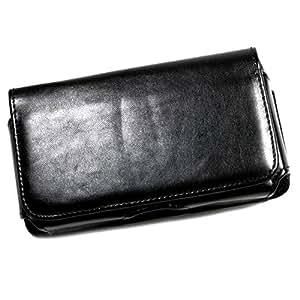 Funda con enganche de cinturón para teléfono móvil piel sintética con tapa para Logicom E400, color negro