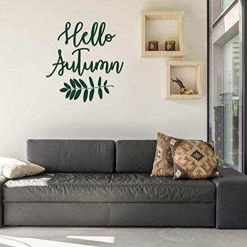 Fall Wall Decal Hello Autumn Vinyl Decor For Living Room Family Room Or Home Decoration Handmade Amazon Com