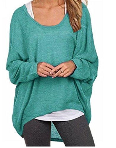 Herebuy8 Women's Casual Oversized Baggy Summer Tunic Shirt Loose Pullover Top Blouse (M, Green)