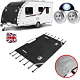 Keptfeet Universal Caravan Front Towing Cover - Front Towing Cover by Protector Covers Accessories with LED Lights Buckle Guards Bag and Reflective Strips for Visibility