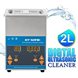 ultrasonic cleaner heater - GT SONIC 2L Ultrasonic Cleaner Digital Display with Adjustable Heating Function and Timer Setting 1-99 Minutes For Cleaning Jewelry Watches Denture DVDs Rings Coins Tools & Parts and More (40KHz, 50W)