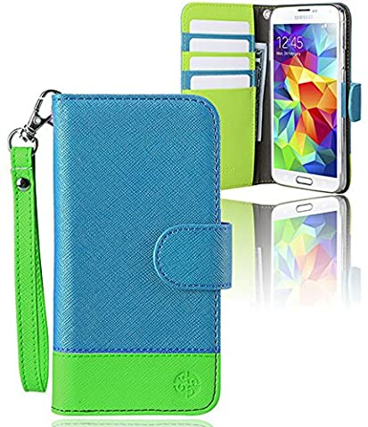 monsoon NAPLES Wallet Case Cover for Samsung Galaxy S5 Case Wallet (BLUE / GREEN) (Monsoon Naples Wallet Case Cover)