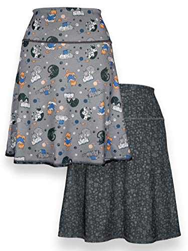 Green 3 Novelty Reversible Skirt - Womens Recycled Skirt, Made in The USA (Reading Cats & Droplets, -