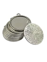 Round Bezel Tray Base for Cabochon Necklace Pendant Tibetan Silver Pack of 10