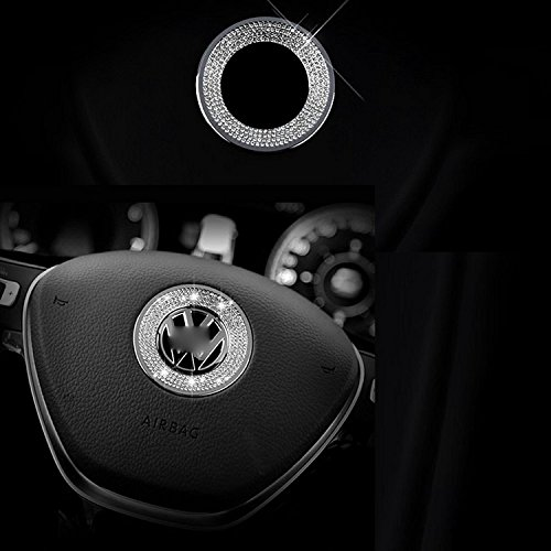 (1 Piece 3D Rhinestone Car Steering Wheel Logo Decoration Sticker Ring Decal FOR VW VOLKSWAGEN)