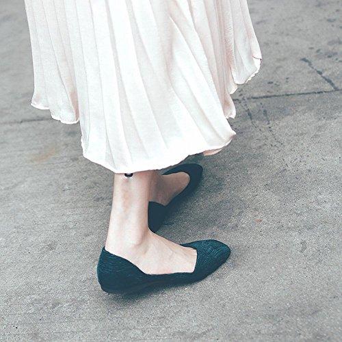 Peu Carré Encre Bleue Chaussures Paresseuses Doux DIDIDD 38 Ballet Chaussures Bouche Profonde Sauvage Décontractées Sauvage 7nqOFOXT