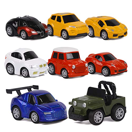 (ToyerBee Car Toys-Die-cast Cars and Pull Back Vehicles for Toddlers & Kids (8 PCS)-Friction Powered-Bright Colored)