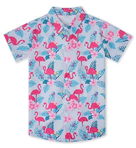 Goodstoworld Luau Shirts for Boys Youth Kids Beach Party Hawaiian Shirts White Pink Flamingo Floral Dress Shirts Palm Tree Coconut Short Sleeve Button Down Aloha Shirts 13-14T ()