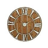 Benzara Brown/ White Metal/ Wood Clock