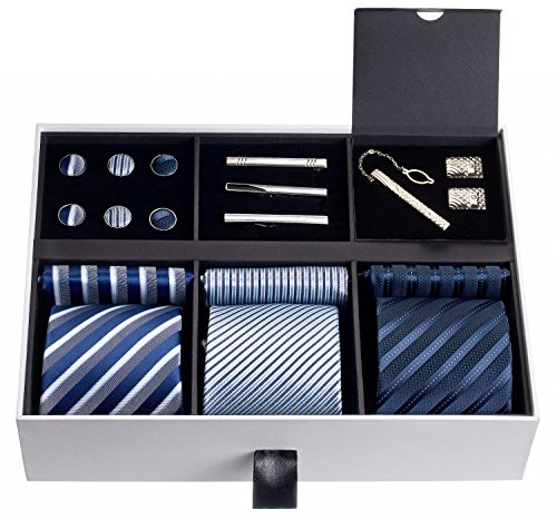 Premium Men's Gift Tie Set Luxury Silky Necktie Set Pocket Squares Tie Clips Cufflinks Deluxe Box Unique Neckties Business Gift For Him Valentine's Birthday Anniversary Ties Gift Idea For Men