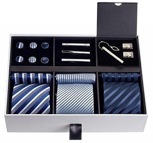 Premium Men's Gift Tie Set Luxury Silky Necktie Set Pocket Squares Tie Clips Cufflinks Deluxe Box Unique Neckties Business Gift For Him Valentine's Birthday Anniversary Ties Gift Idea For Men (Luxury Gift)