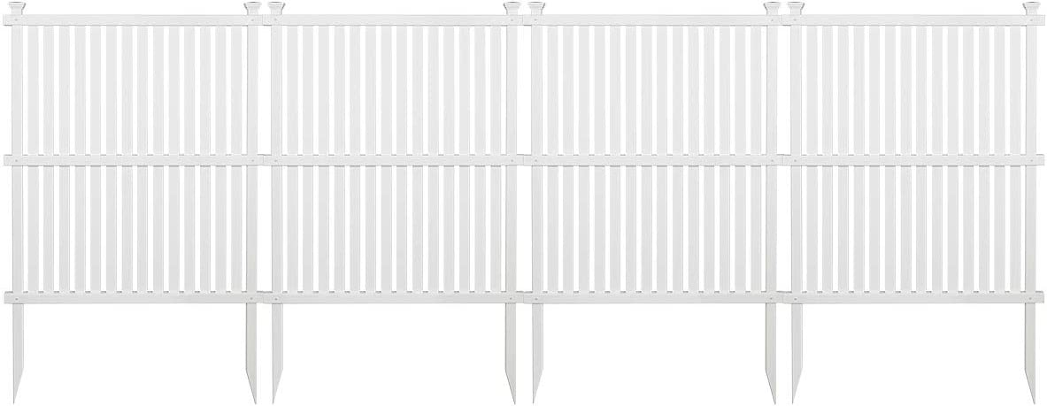 """Giantex 4 Panel Picket Fence Outdoor Decorative Fence for Garden, Patio, Lawn, Protective Guard Border Edge Fence, Expanding and Freestanding Fences 36""""x 48"""", White"""