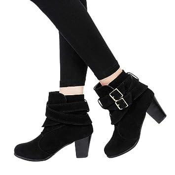 Sonnena Botas Casual de tacón alto - Botines de cuña para mujer Botines planos Zapatos de plataforma de tobillo: Amazon.es: Hogar