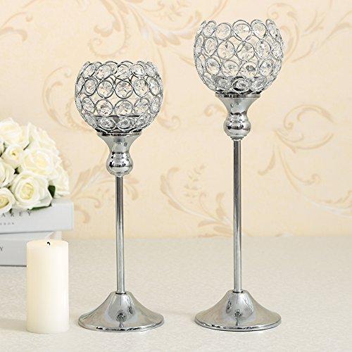 VINCIGANT Kristall Kerzenständerr 2er SET Teelichthalter Kerzenhalter Kerzenleuchter Tischdeko Gastgeschenke silber 30 & 35cm H