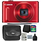 Canon PowerShot SX610 20.2MP HS Digital Camera (Red) + 8GB Memory Card + Wallet + Reader + Camera Case