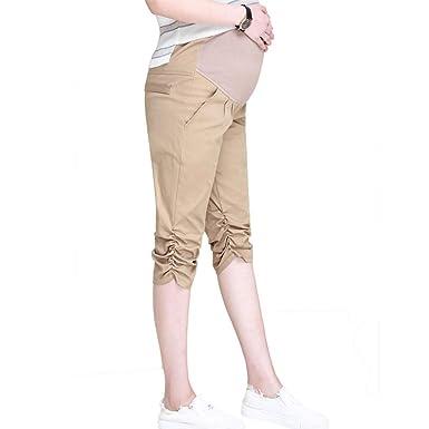 Gusspower Mujer Premamá Pantalones Casuales de Cintura Alta ...