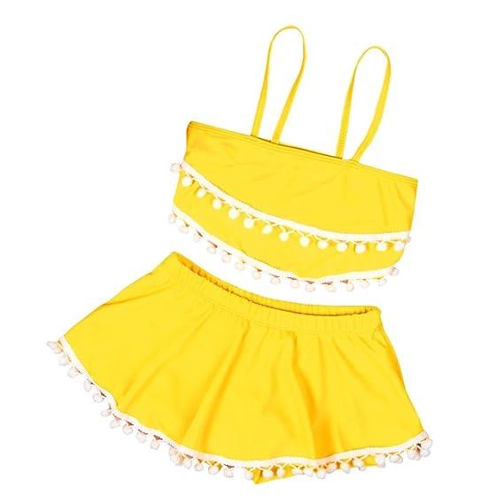 PAOLIAN Ropa de Playa para Niñas bebé Traje de Baño para Niñas Verano Tankinis Sin Manga Conjuntos de Camisetas y Pantalones cortos de 1 años 2 años 3 años: ...