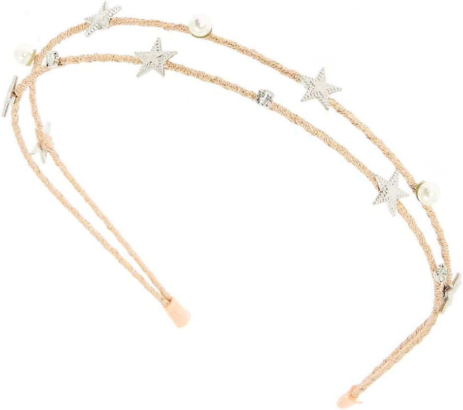 Pink Claires Girls Night Sky Two Row Headband