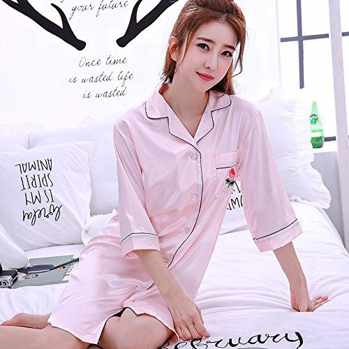 WXIN Camisa Blusa Pijama Camisón /Estudiante Hielo Chándal Seda Seda/ M/ Negro: Amazon.es: Hogar