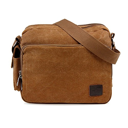 Oct17 Men's Vintage Canvas Crossbody Bag Shoulder Casual Handbag School Messenger Bags Satchel - Coffee (Cheap Handbags Vuitton Louis)