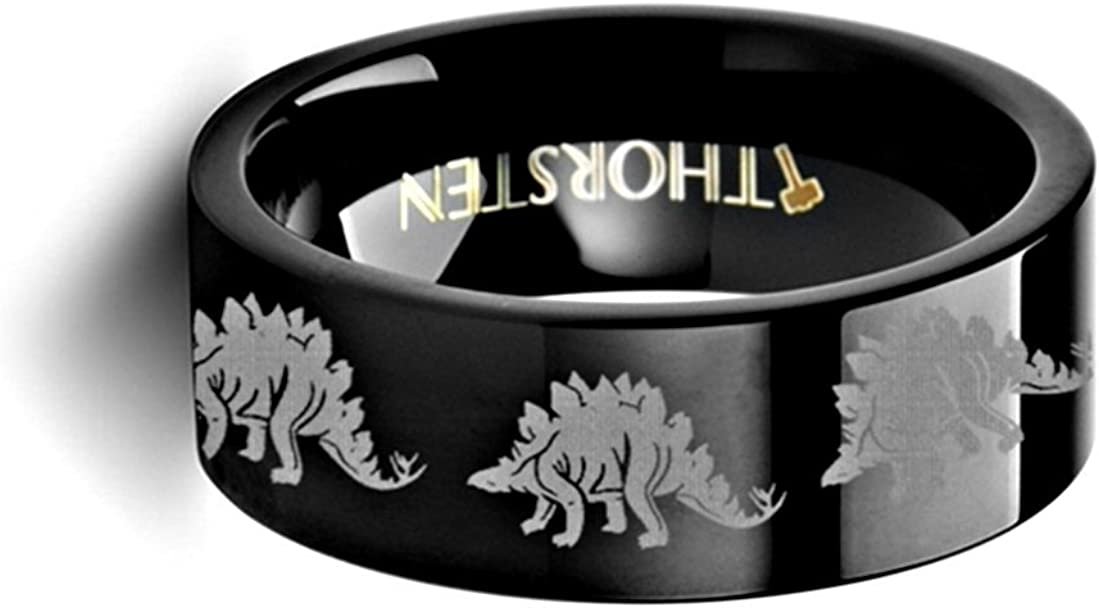 Thorsten Dinosaur Ring Stegasaurus Prehistoric Paleo Flat Black Tungsten Ring 12mm Wide Wedding Band from Roy Rose Jewelry