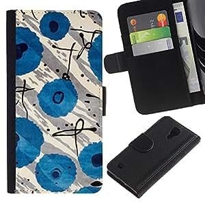 EuroTech - Samsung Galaxy S4 IV I9500 - Blue Flower White Black Grey Pattern - Cuero PU Delgado caso Billetera cubierta Shell Armor Funda Case Cover Wallet Credit Card