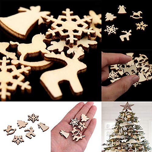 SpirWoRchlan Christmas Decorations 50Pcs Wooden DIY Christmas Tree Snowflake Star Hanging Ornaments Table Craft Xmas Stocking Fillers
